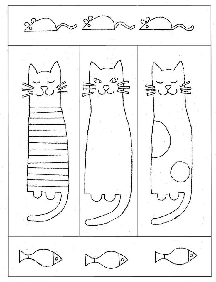 "Rug Hooking Pattern ""TRES GATOS"" on natural linen"