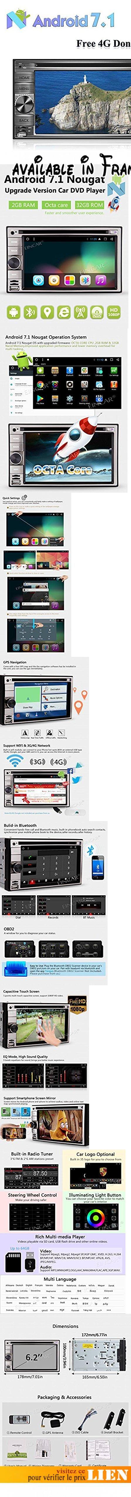 4G Dongle comprennent Octa-core Stereo Double din Android Autoradio 7.1 Lecteur DVD / CD Bluetooth GPS Navigation Headunit Support double caméra wifi / OBD / Mirror Link / DAB / DVR - 2 Go 32 Go - 6,2 pouces à écran tactile. PURE Player Android 7.1 DVD de voiture avec système Nougat, Octa Core CPU fréquence 1.6GHz, 2 Go de RAM ROM et 32   Go, ce qui contribue à la performance fantastique, 6,2 pouces écran tactile avec une résolution de 600 * 1024. Double Din Lecteur