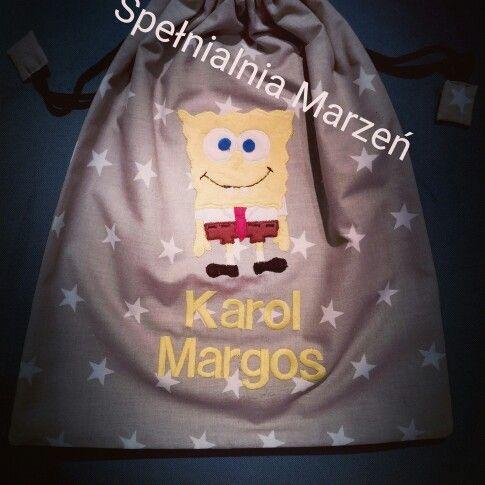 Worek na buty  www.spelnialniamarzen.com.pl #worek # worekdoprzedszkola #woreknabuty # wyprawka #spongebob #spelnialniamarzen