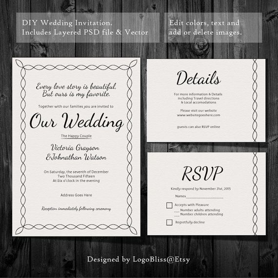 Wedding Invitation Template Instant Printable Psd Easy Diy