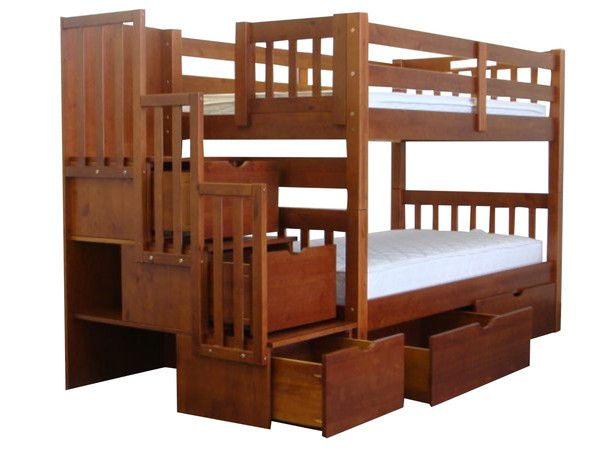 Bedz King Stairway Bunk Bed Twin over Twin in Expresso with 2 Under Bed Drawers $625 at Bunk Bed King | FREE SHIPPING Nationwide to your Home.