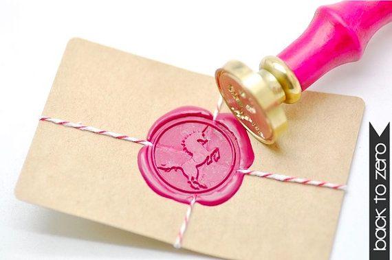 Cachet de cire B20 timbre créature mythique Licorne