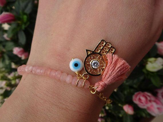 Evil Eye Beaded  Hamsa Bracelet  Pink Jade Bracelet  by cocolocca