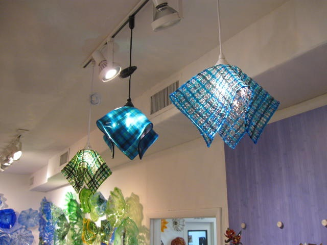 Fused Gl Light Fixture Chandelier Waffle Basket Art Shades Of Blue Artist Steve Schramek Pinterest And