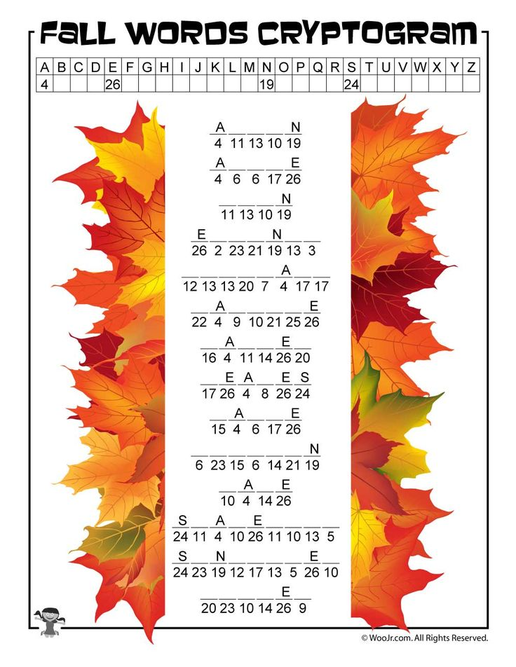 Fall Cryptogram Word Puzzle Woo! Jr. Kids Activities