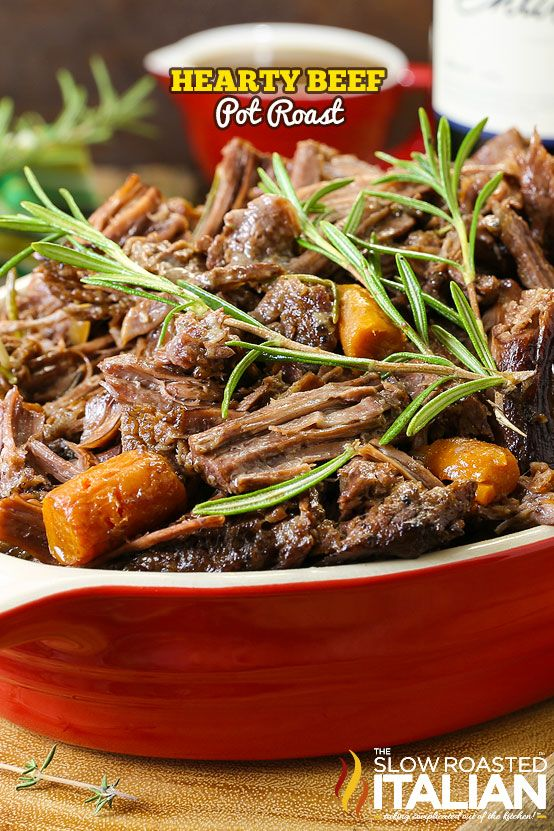 Hearty Beef Pot Roast is so tender and juicy the beef melts in your mouth. A simple one-pot meal with a layers of flavor in a heavenly rich gravy that is loaded with veggies. It is truly the ultimate comfort food. Almost like Mom used to make, but better {{sorry Mom}}.  @entwinewine #ad