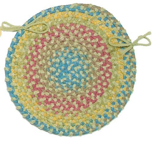 Botanical Isle Round Braided Chair Pad - Set of 4 by COLONIAL MILLS. $59.00. 65 Nylon-Spacedye/35 Chenille. Fade Resistant. Super-Soft Chenille. Reversible. Botanical Isle Round Braided Chair Pad - Set of 4. This is the perfect accent on any dining room chairs. The lush colors of a tropical garden are captured in space-dyed yarns and blended with ultra-soft chenille. The Botanical Isle Round Chair Pad - Set of 4 is delicately soft-texture constructed with flat b...