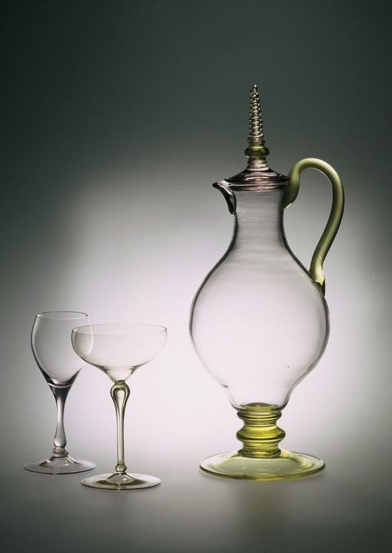 Simon Gate (Swedish, 1883-1945), Orrefors, Blown Glass Pitcher.