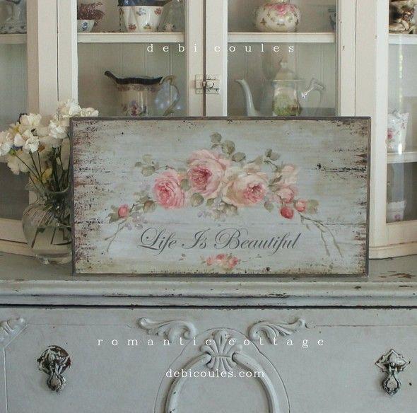 """French Farmhouse Roses """"La Vie Est Belle"""" (Life is Beautiful) by Debi Coules - Debi Coules Romantic Art"""