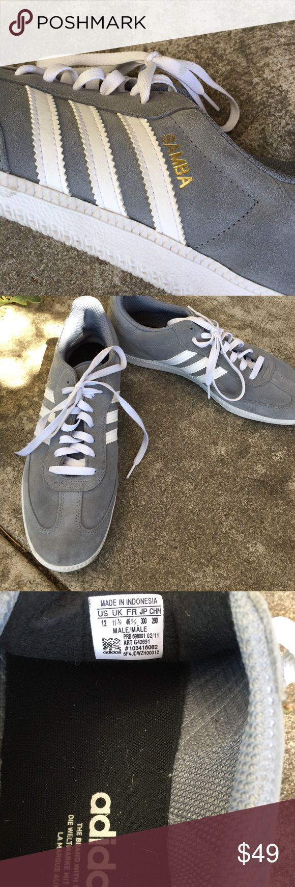 Men's gray Adidas Samba Trainers suede size 12 Like new. Size 12. Adidas Samba Trainers in grey suede with white stripes. Adidas Shoes Sneakers