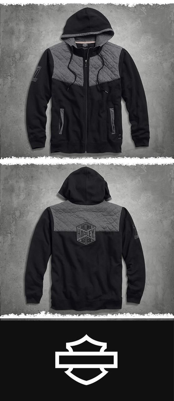 The Quilted Yoke Hoodie makes an awesome addition to your Black Label stash. | Harley-Davidson