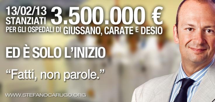 stanziati 3 milioni e mezzo per gli #ospedali di Giussano #Carate e #Desio.  #Sanità #FattinonParole #elelombardia