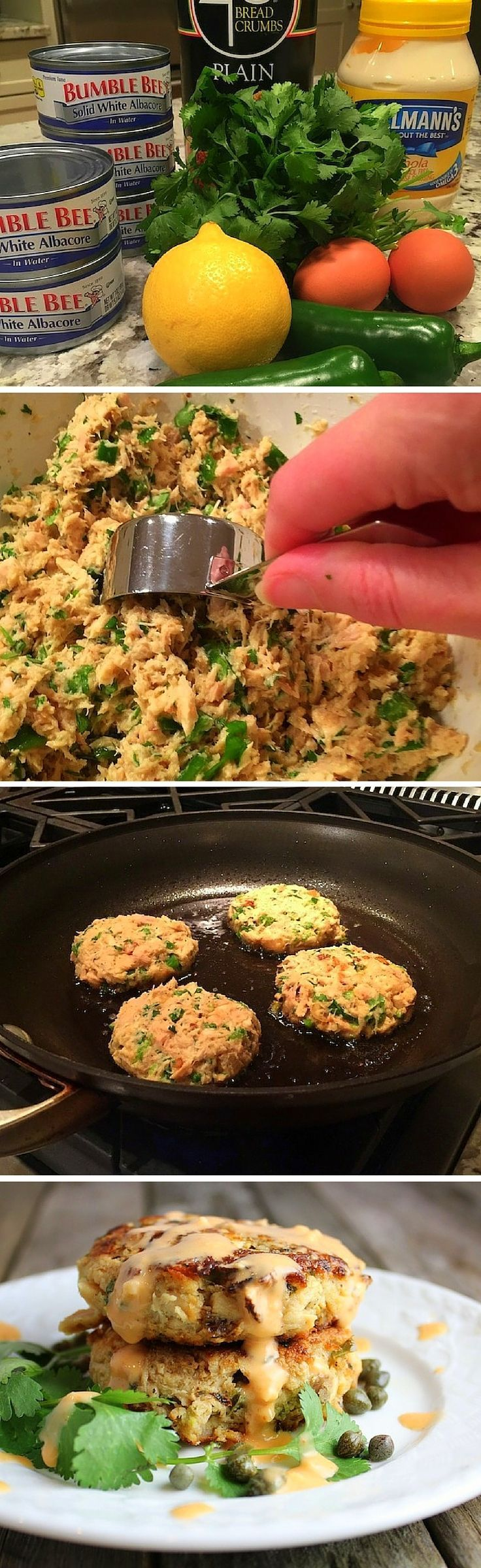 These simple healthy tuna cakes are delicious, budget friendly, and they feed an army! Low carb, low calorie, & clean eating. #eatclean #tuna