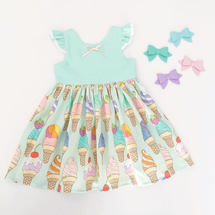Girls dress, ice cream dress, ice cream party, girls fashion