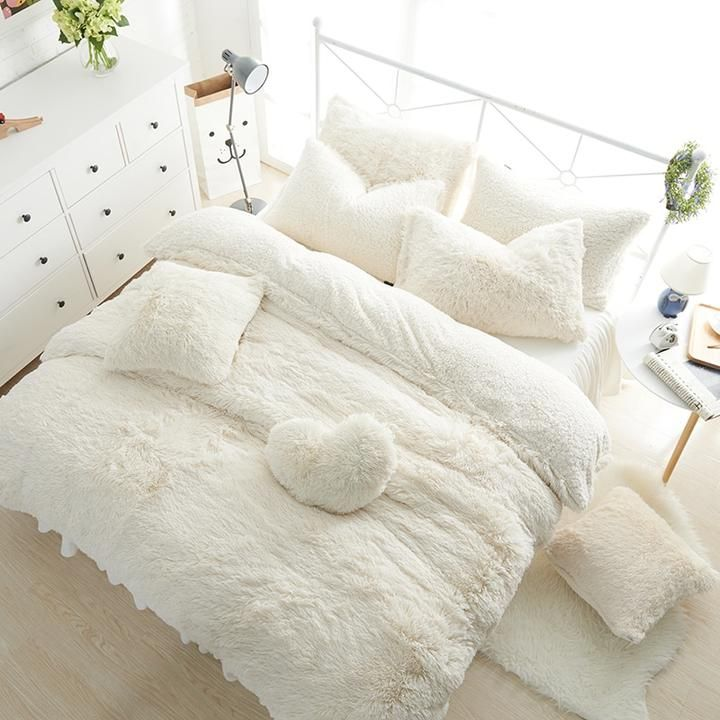White Pink Fleece Bedding Set King Queen Twin Size Girls Bed Set Warm Soft Bed Sheet Duvet Cover Set Bed Skirt Parure De Lit Bed Linen Sets Soft Bed Sheets Bed