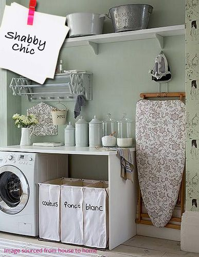 French, Shabby Chic Laundry Room - Plumbs [Like the Laundry Baskets]