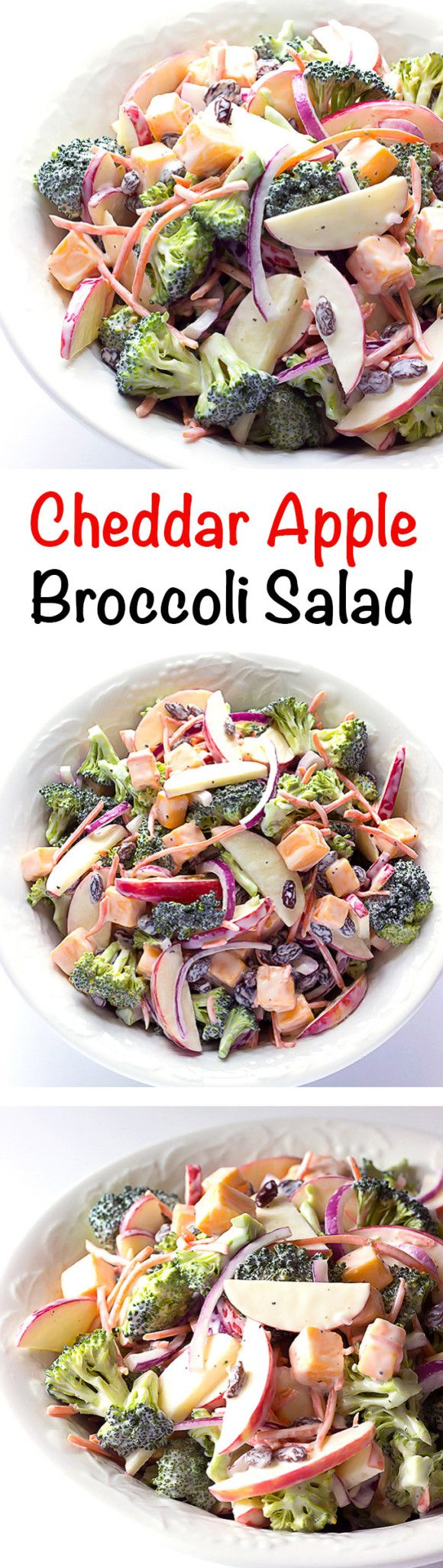 Cheddar Apple Broccoli Salad - The sweet tangy flavors of traditional broccoli raisin salad plus sweet chopped apples and tangy cheddar cheese cubes.  Great for a cookout!