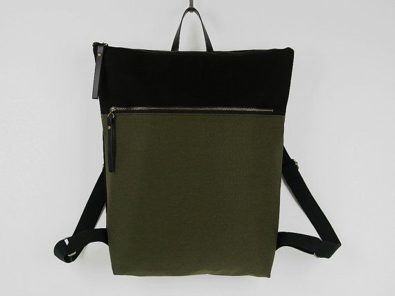 Unisex, Forest green and black canvas Backpack, laptop backpack with zipper closure and front zipper pocket, Design by BagyBags