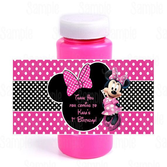 Printable Minnie Mouse Bubble Bottle Labels by PartyInnovations09