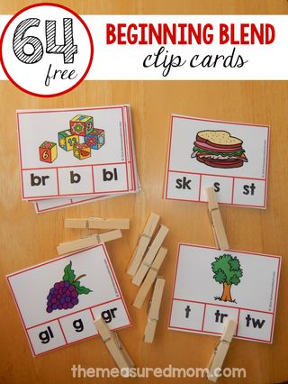 Free clip cards for beginning blends