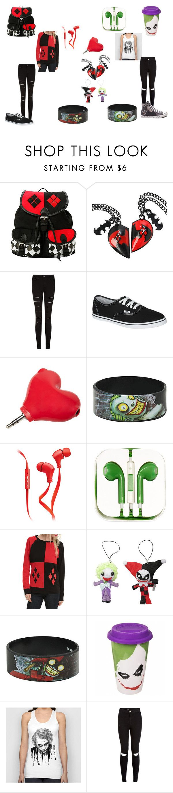"""""""Harly Quinn and the Joker"""" by fallenangel401 ❤ liked on Polyvore featuring Vans, Merkury Innovations, PhunkeeTree, New Look and Converse"""