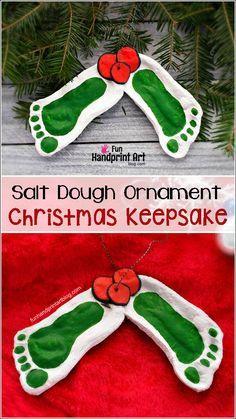 Mistletoe Footprint Ornament made from Salt Dough - Recipe & Craft Tutorial