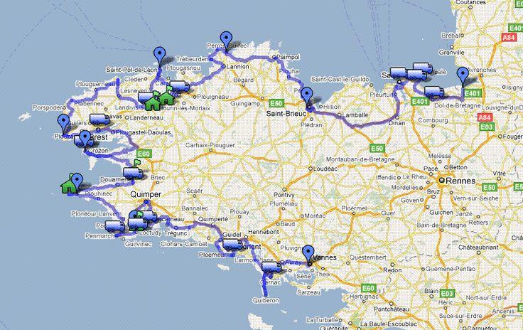 Itinéraire visite côtes de Bretagne