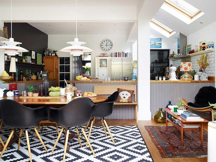 Victorian terraced home living dining kitchen in extension
