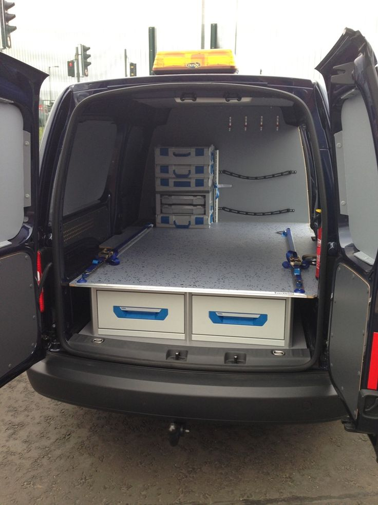 VW Caddy Maxi - Sortimo racking with XL drawer system, false floor & Sortimo L-BOXXes against bulkhead
