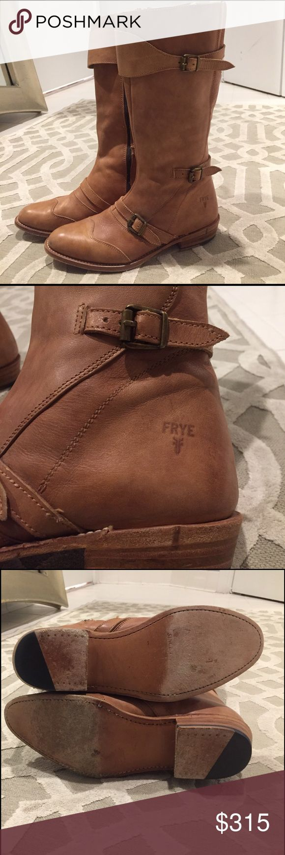 Frye Dorado boots in tan -- worn 1 time!! Barely worn frye riding boots in tan -- size 8.5 Frye Shoes Winter & Rain Boots