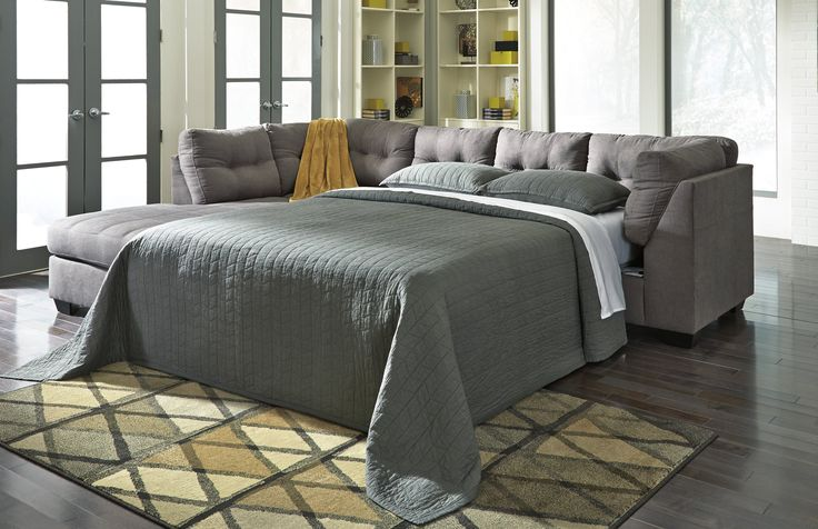 """Maier 45200-16-83 117"""" Wide Sectional Sofa with Left Chaise, Right Full Sleeper Sofa, Tufted Details, Jumbo Stitching and Plush Loose Seat Cushions in Charcoal"""