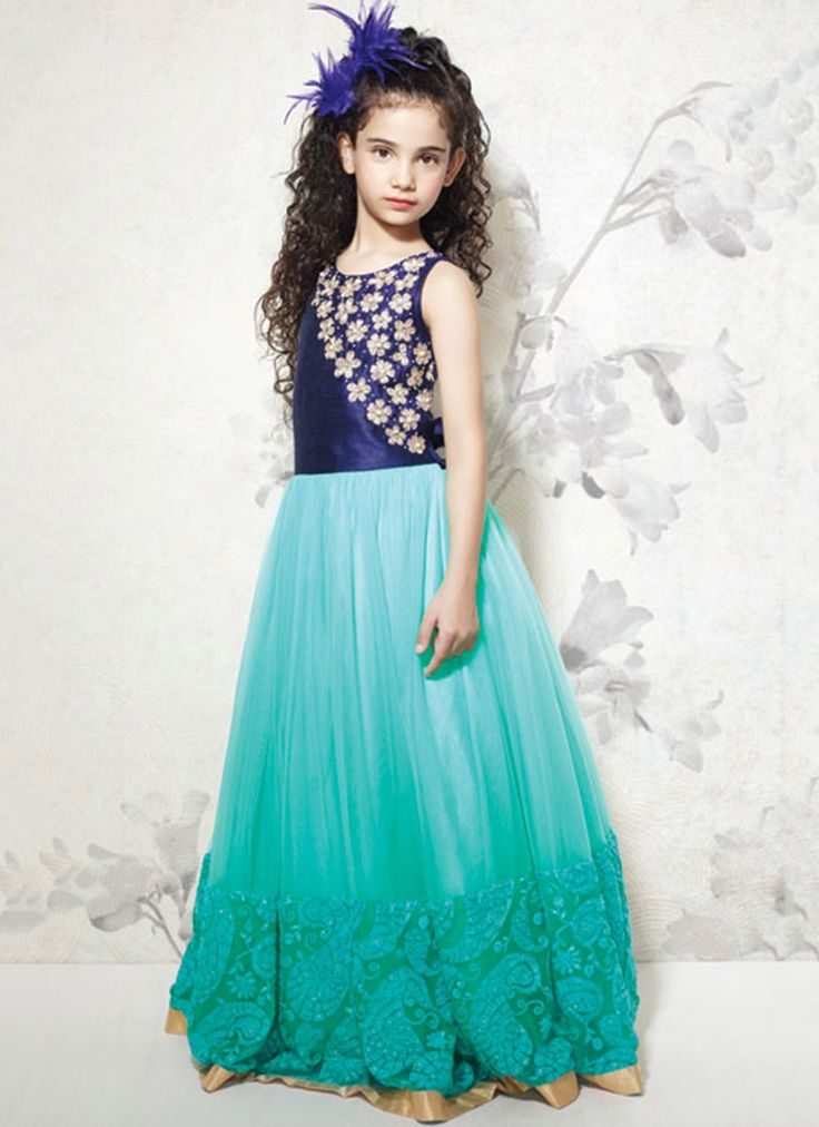 Kids Turquoise Net #Gown
