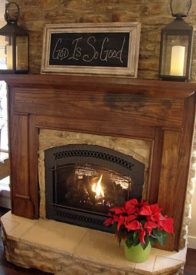 Beautiful fireplace...simple mantle decor. Love it... ❤️: