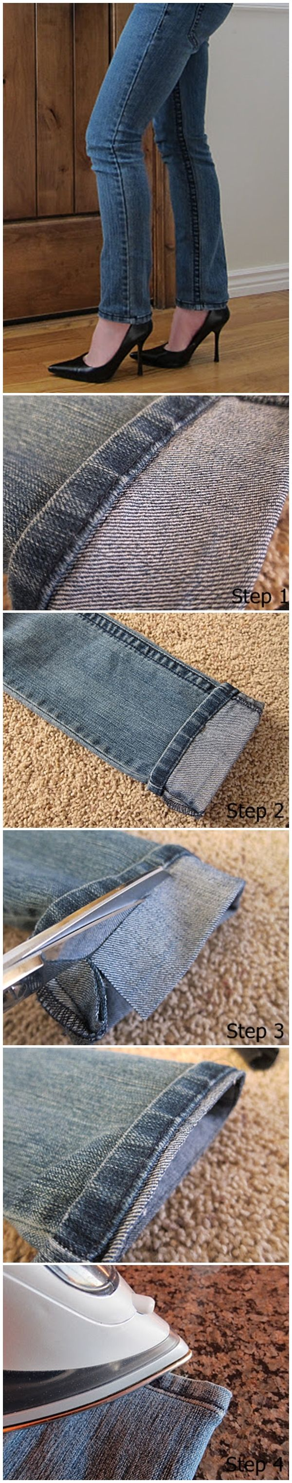 Per prima cosa, ti consigliamo di misurare la lunghezza corretta dei jeans e di piegarli verso l'esterno. Arrotolare i jeans in modo un po ' sopra la lunghezza desiderata . Fase 2 : cucire lungo la cucitura del bordo originale. A macchina da cucire questo sarà semplice e veloce , ma va bene anche con ago e un filo. Fase 3 : Tagliare il tessuto in eccesso, lasciando forse 1 cm dalla vostra cucitura Fase 4. ferro da stiro e il gioco è fatto !