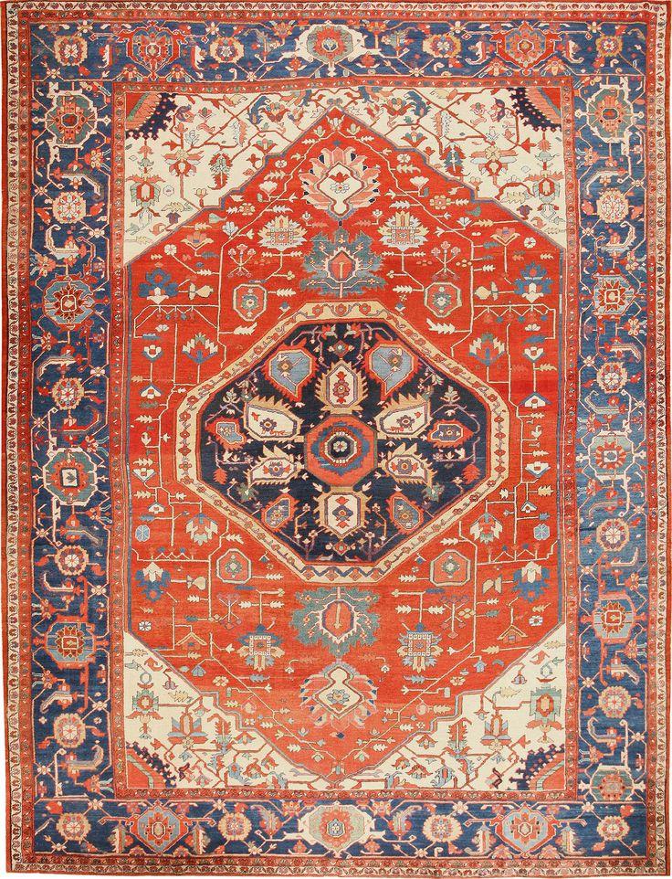 Large Geometric Antique Persian Heriz Serapi Rug 48849