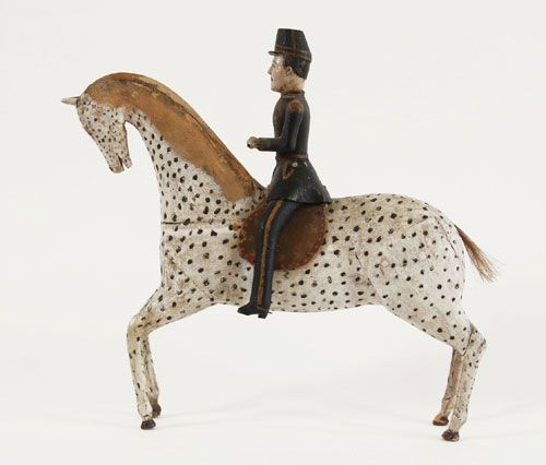 Swedish folk art carved horse and soldier, second half of the 19th century.