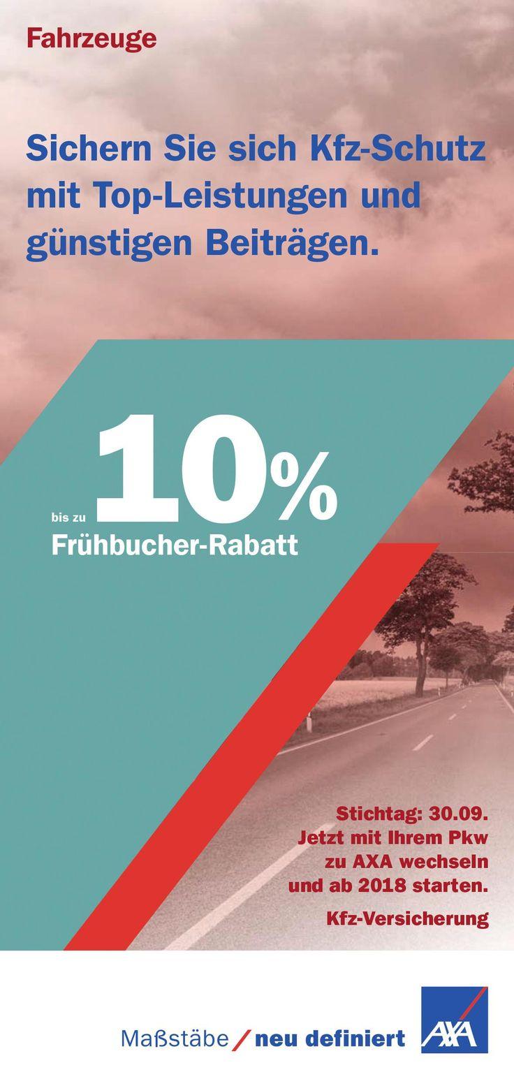 https://www.stellencompass.de/kfz-versicherung-fruehbucher-sparen-geld/ Kfz-Versicherung: Frühbucher sparen Geld - gd.ots.mh- Wer sich bis zum 30. September für einen Wechsel zur Kfz-Versicherung von AXA entscheidet, spart bis zu zehn Prozent auf den Versicherungsbeitrag  Frühbucher sparen bares Geld - was bei der Flug- oder Hotelbuchung ein weit verbreitetes Prinzip ist, gilt jetzt auch für die Kfz-Versicherung. Wer sich von jetzt an bis