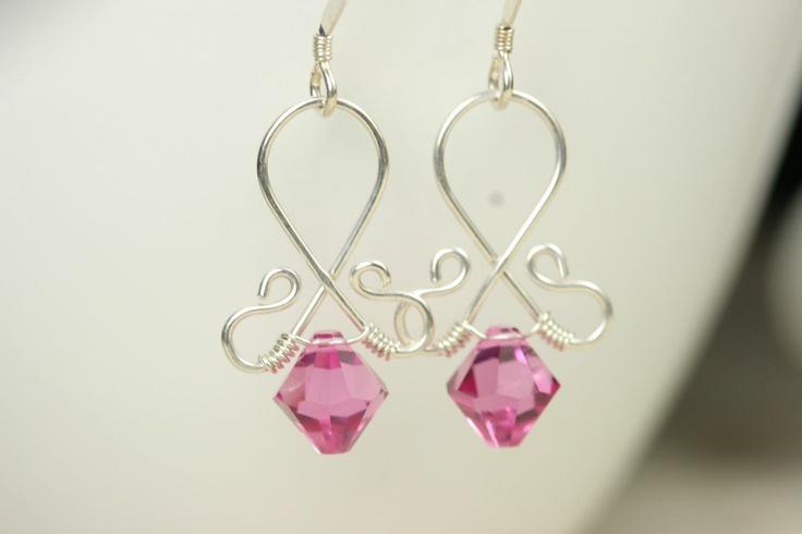 Pink Swarovski Crystal Earrings Wire Wrapped Jewelry Handmade Sterling Silver Jewelry Handmade Swarovski Earrings Swarovski Crystal Jewelry. $25.00, via Etsy.