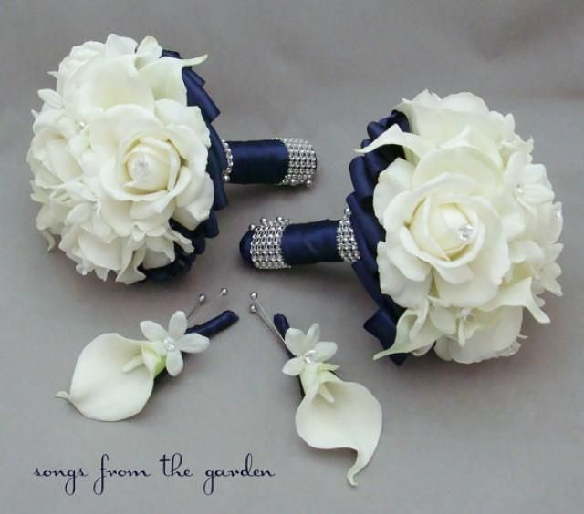 find this pin and more on wedding decorations navy wedding flower package bridesmaid bouquets groomsman boutonnieres silk