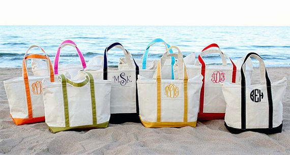 Monogram Canvas Tote Bag - Large - Great Gift For Bridesmaids - Teacher - Sorority Sisters - Beach Bag - Discount On Four Or More
