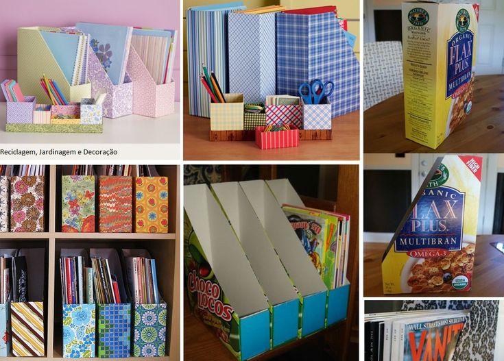 Reutilizando caixa de serreais como suporte de livros...veja mais: http://ericadovaledesigner.blogspot.com.br/2013/04/organizando-e-reutilizando.html