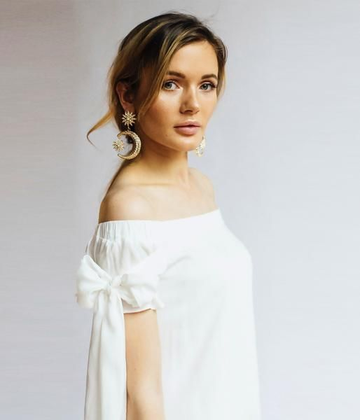 bow tied sleeves off the shoulder white mini dress women's fashion online Toronto