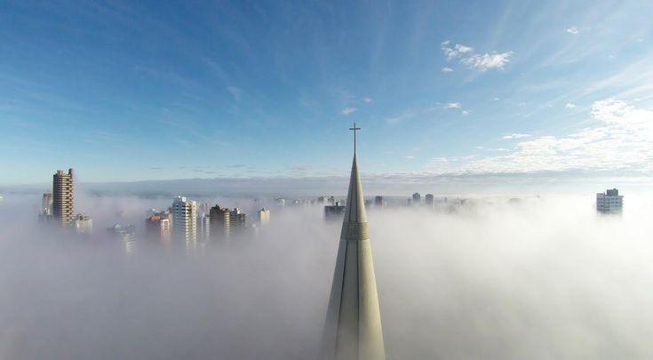 MY CITY! <3 1st Prize - Category Places - Above the mist, Maringá, Paraná, Brazil by Ricardo Matiello