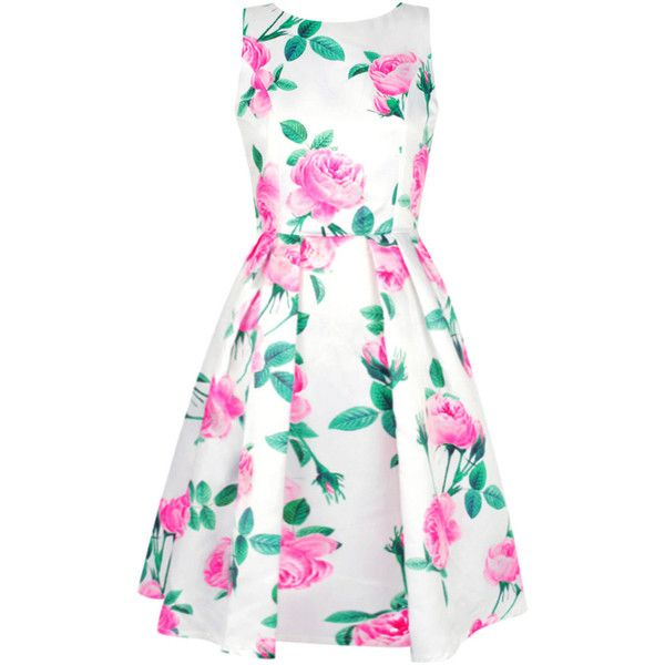 Sleeveless Round Neck Floral Printed Skater Dresse ($36) ❤ liked on Polyvore featuring dresses, floral skater dress, floral print dress, summer skater dress, summer dresses and white sleeve dress