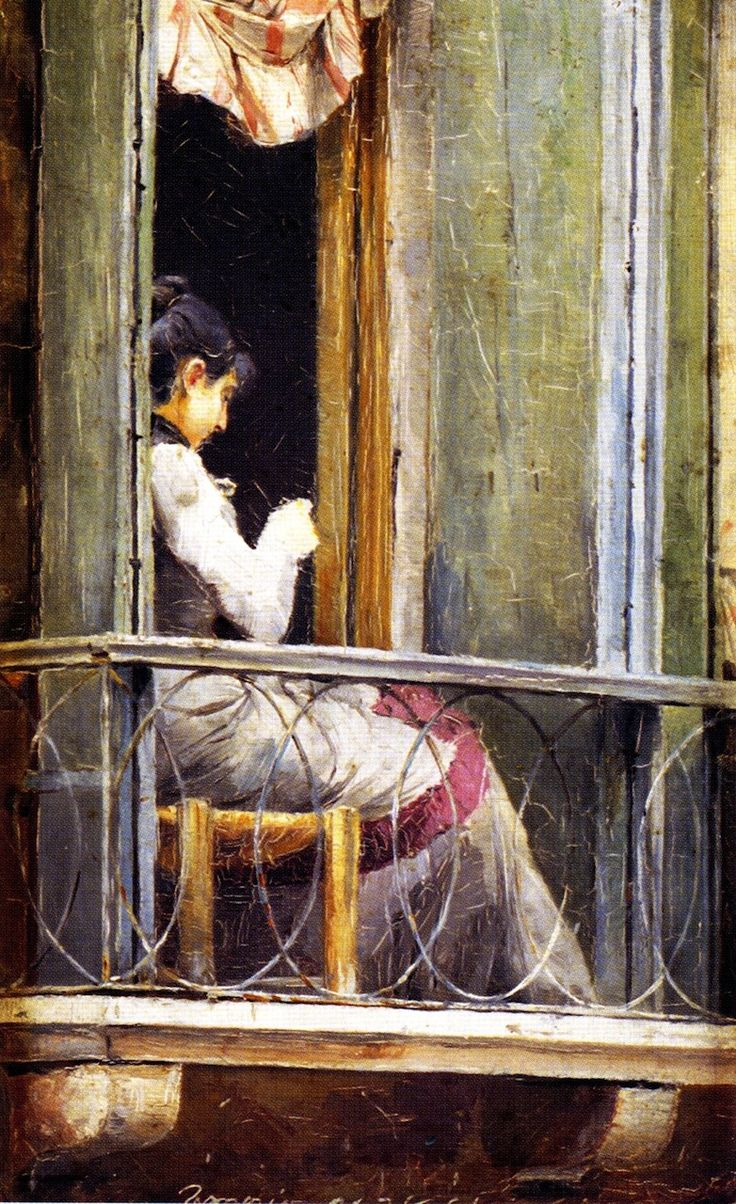ROBERTS, Tom (1856-1931) Australian artist: -- 'Woman on a Balcony'.