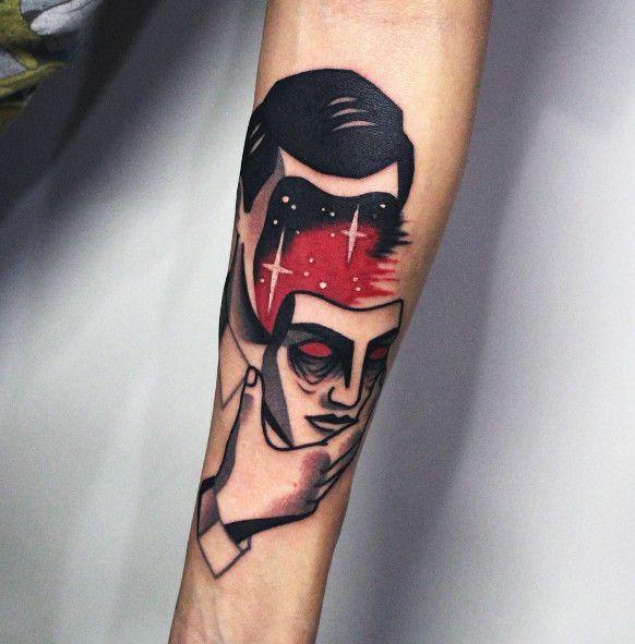 Face Sleeve Tattoo: Simple Blackwork Tattoo Ideas Of Men Face Tattoo At Sleeve