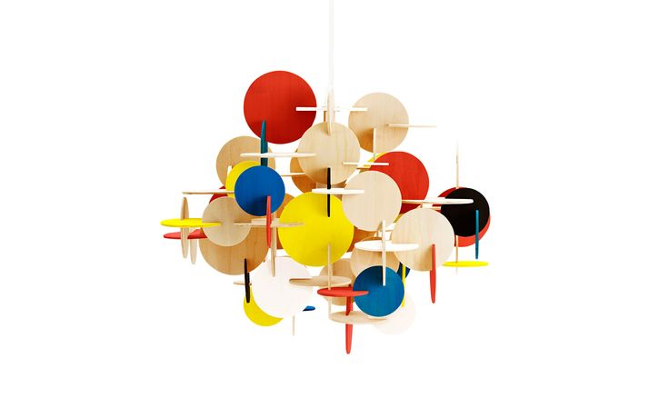 Bau is a sculptural hanging lamp designed by Vibeke Fonnesberg Schmidt, who has combined colour, composition and geometric shapes in a unique and creative design. Bau is a hanging lamp with attitude. Bau comes in two colors (nature and multi) and two sizes.