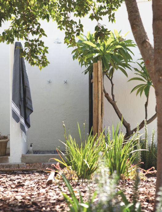 Outdoor shower. Interiors - and exteriors - by Jean-Pierre de la Chaumette.