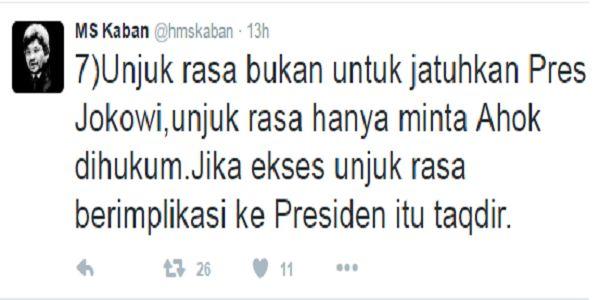 Komentar CADAS Eks Menteri SBY Terkait Jokowi-Ahok  pic from @hmskaban twitter. Link:https://twitter.com/hmskaban/status/791423851913555969  [portalpiyungan.com]Rencana aksi umat Islam pada 4 November 2016 yang menuntut proses hukum pada Basuki Tjahaja Purnama (Ahok) telah diplintir pendukung Ahok yang juga loyalis Joko Widodo. Ramai dibuhulkan di sosial media pendukung Ahok menuding aksi umat Islam 4 November 2016 bukan hanya untuk menjatuhkan Ahok tetapi juga menjatuhkan Jokowi dari kursi…