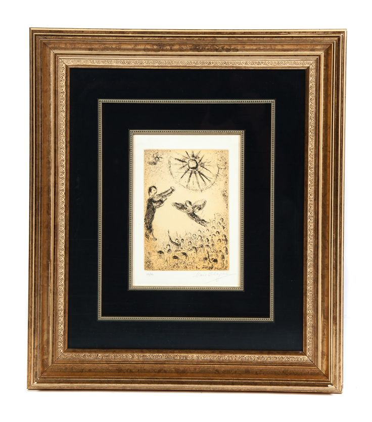 "Garths | Full Details for Lot 83 ETCHING 17, PSALM 44, MARC CHAGALL (RUSSIA/FRANCE, 1885-1987).  Etching with aquatint, pencil signed and numbered 29/40 lower right. Song of David. 10""h. 7""w., framed, 24""h. 21""w. Label on back from Patrician Galleries with registration number 03222.  Estimate $ 1,200-1,800"